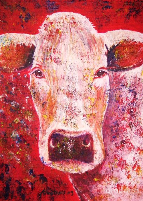 Cow Greeting Card featuring the painting Cow by Anastasis Anastasi