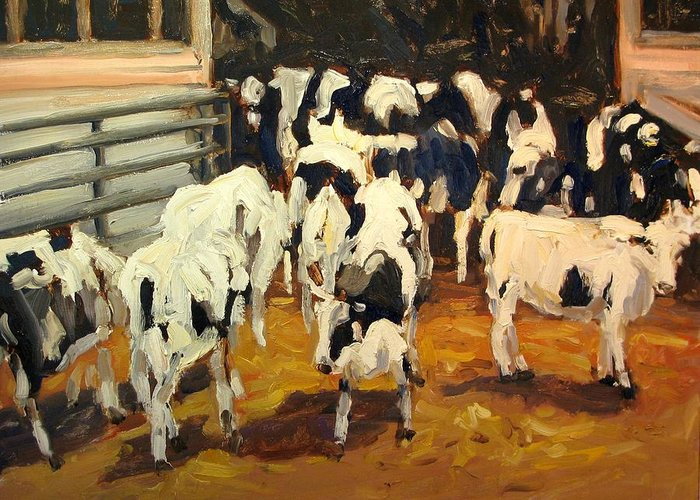 Cow Paintings Greeting Card featuring the painting Cow Barn by Brian Simons