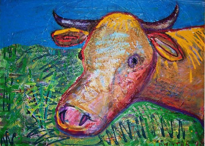 Cow Greeting Card featuring the mixed media Cow by Dave Kwinter