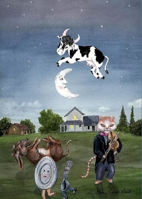 Nursery Rhyme Greeting Card featuring the painting Cow Jumped Over The Moon by Sherry Holder Hunt