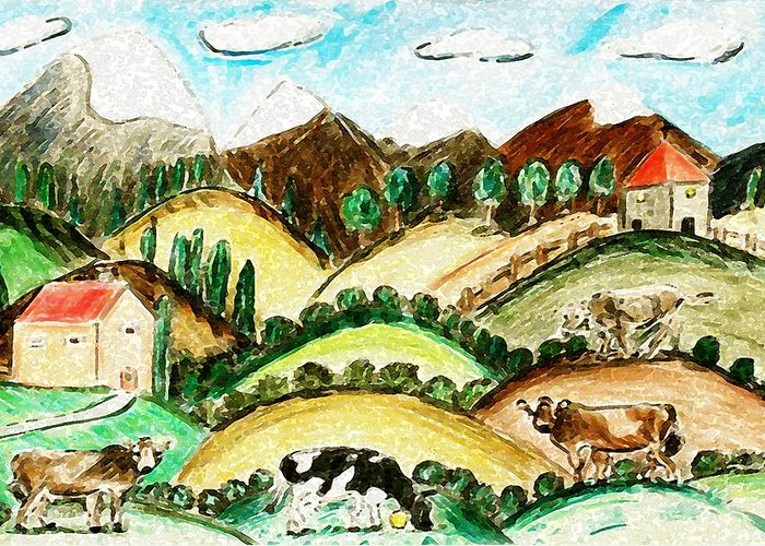 Farmland Greeting Card featuring the painting Cow Land by Monica Engeler