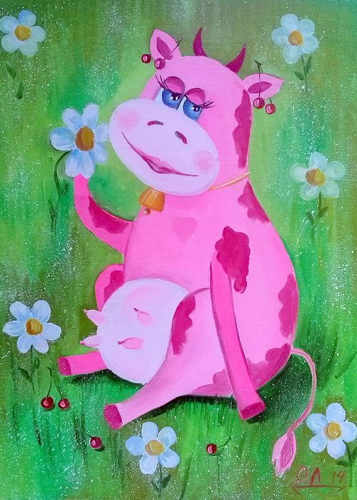 Cow Greeting Card featuring the painting Cow by Olha Darchuk