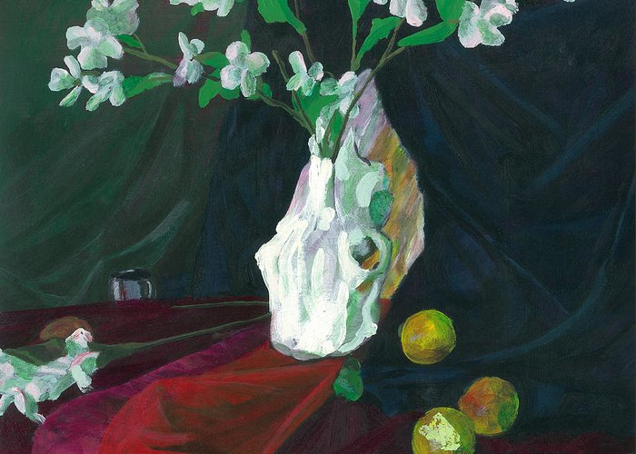 Skull Greeting Card featuring the painting Cow Skull In Green Light by Sean Koziel