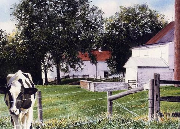 Cows Greeting Card featuring the painting Cow Spotting by Denny Bond