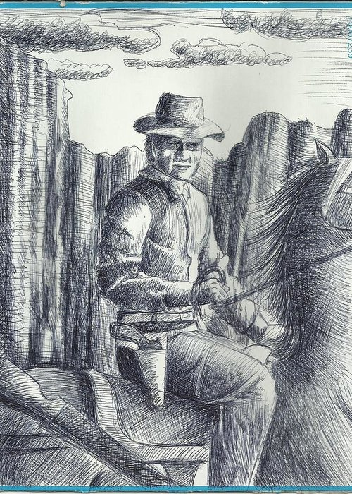 With Memories Of Western Movies Greeting Card featuring the drawing Cowboy by Ahmed Alrassam