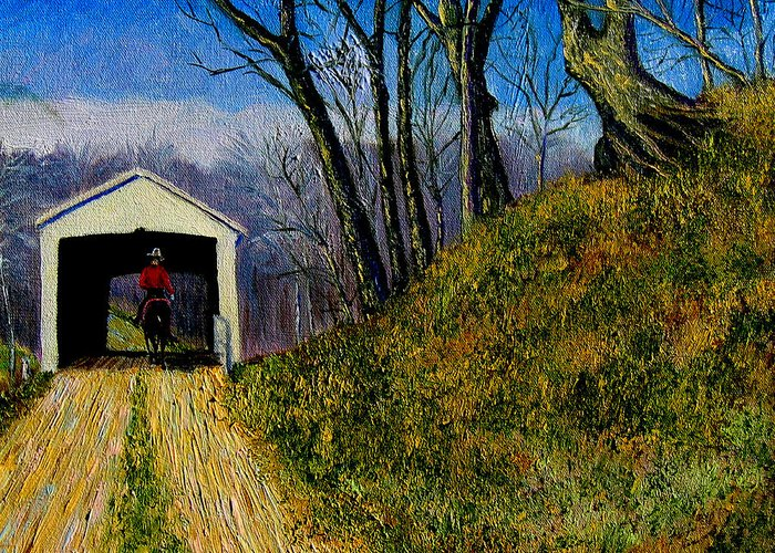 Cowboy Greeting Card featuring the painting Cowboy And Covered Bridge by Stan Hamilton