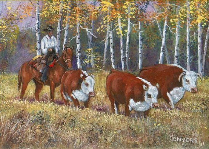 Western Greeting Card featuring the painting Cowboy And Cows by Peggy Conyers