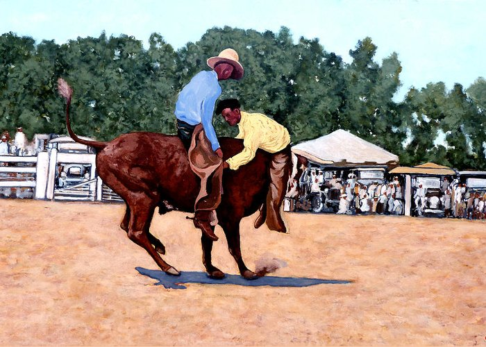 Bull Greeting Card featuring the painting Cowboy Conundrum by Tom Roderick