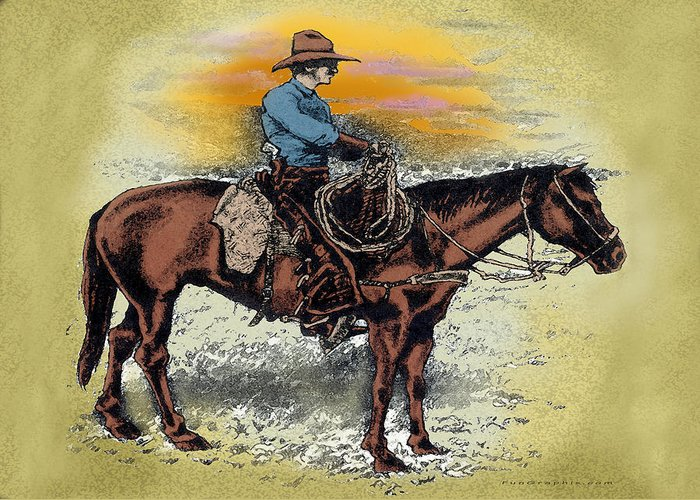 Cowboy Greeting Card featuring the painting Cowboy N Sunset by Kevin Middleton