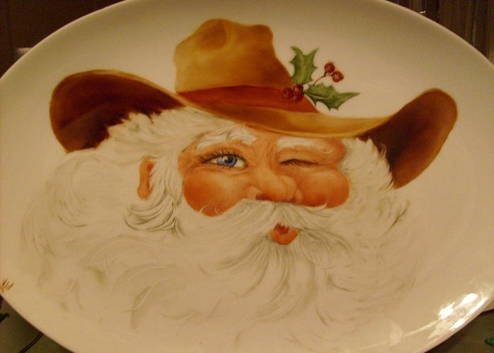 Cowboy Greeting Card featuring the ceramic art Cowboy Santa by Verna Jean Dawson