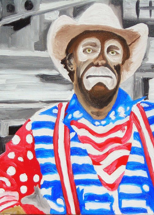 Rodeo Greeting Card featuring the painting Cowboy Savior by Michael Lee