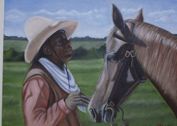 Portrait Greeting Card featuring the painting Cowboy2 by Toni Berry