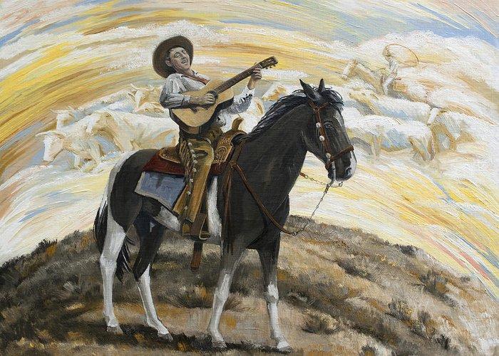 Cowboy Greeting Card featuring the painting Cowboy's Dream by Paula Blasius McHugh