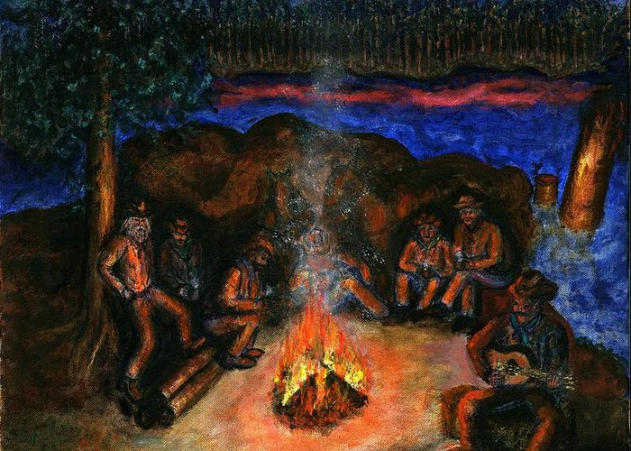 Cowboys Greeting Card featuring the painting Cowboys Mountain Camp at Night by Tanna Lee M Wells