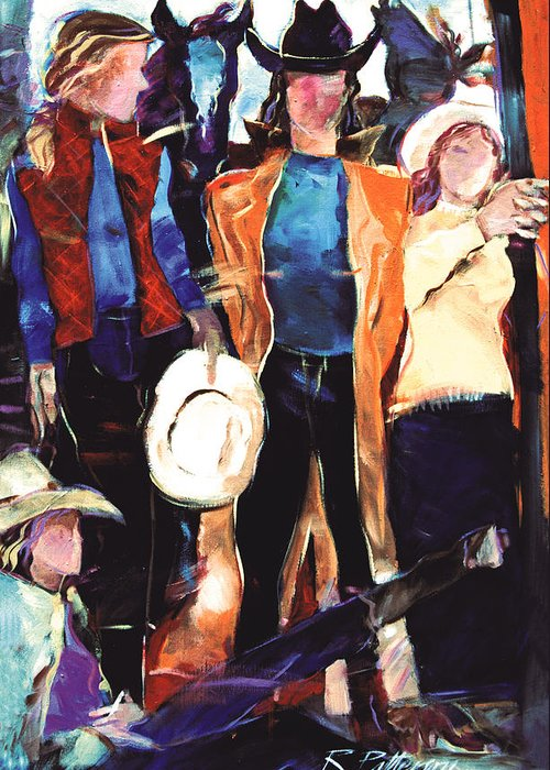 Figurative Greeting Card featuring the painting Cowgirls by Ron Patterson