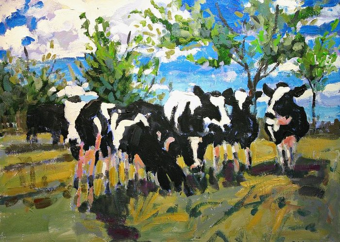 Landscape Greeting Card featuring the painting Cowscape by Brian Simons