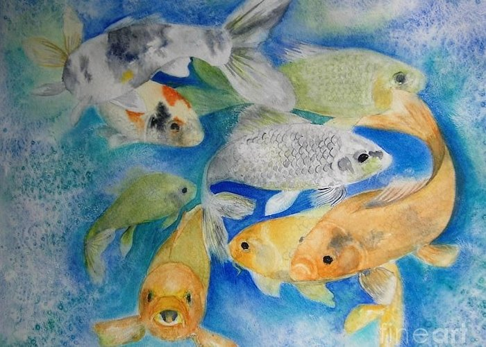 Water Greeting Card featuring the painting Coy Koi by Vivian Mosley