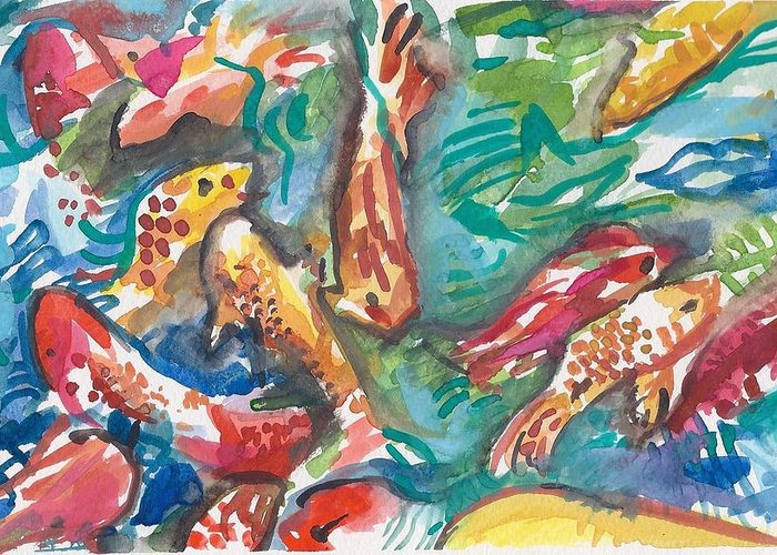 Coy Greeting Card featuring the painting Coy Pond Fish by Sarah Drum