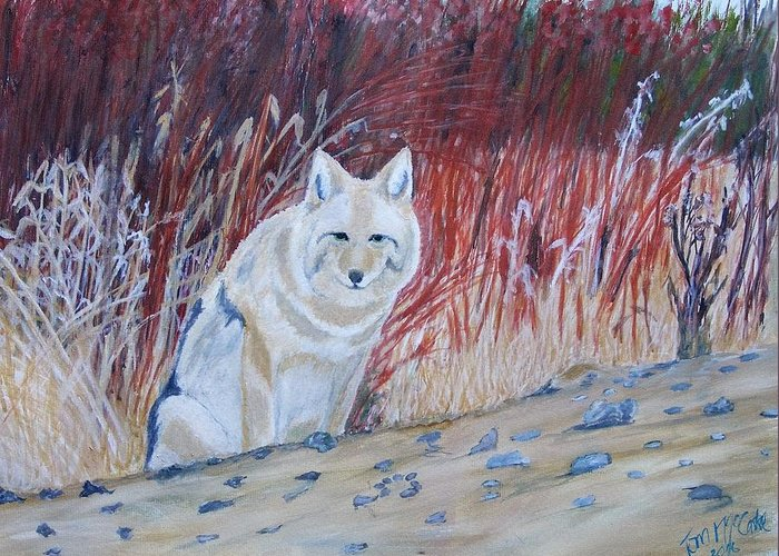 Wildlife Greeting Card featuring the painting Coyote by Thomas McCaskie