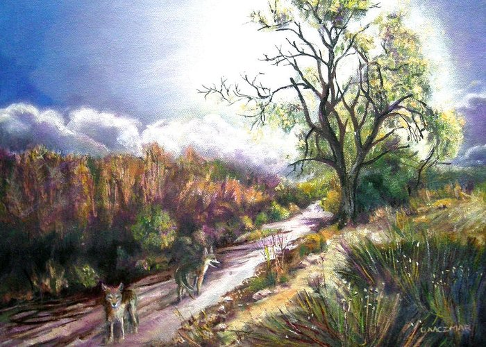 Landscape Greeting Card featuring the painting Coyotes In Placerita Canyon by Olga Kaczmar