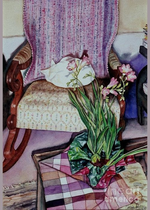Cynthia Pride Watercolor Paintings Greeting Card featuring the painting Cozy Kitty by Cynthia Pride