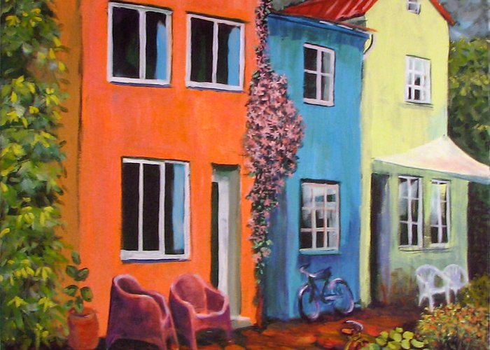 Cozy Greeting Card featuring the painting Cozy Street by Art Nomad Sandra Hansen