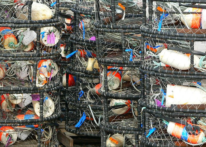 Crabs Greeting Card featuring the photograph Crab Traps by Larry Keahey