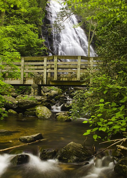 Crabtree Falls Greeting Card featuring the photograph Crabtree Falls And Bridge by Andrew Soundarajan