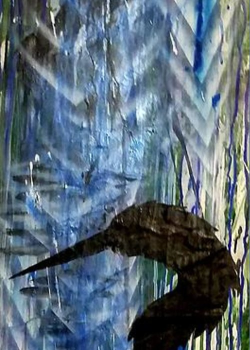 Crane Greeting Card featuring the painting Crain Rain by Leigh Odom