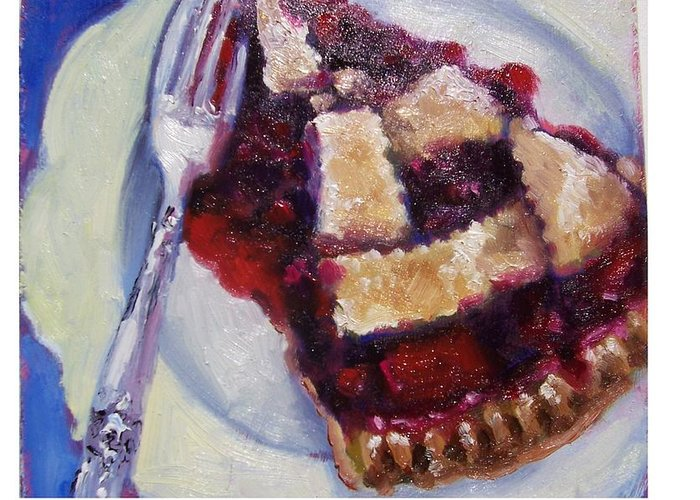 Painting Greeting Card featuring the painting Cranberry Raisen Pie     by Susan Jenkins