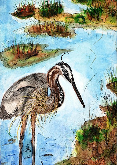 Birds Greeting Card featuring the painting Crane In Florida Swamp by Margaret Fortunato