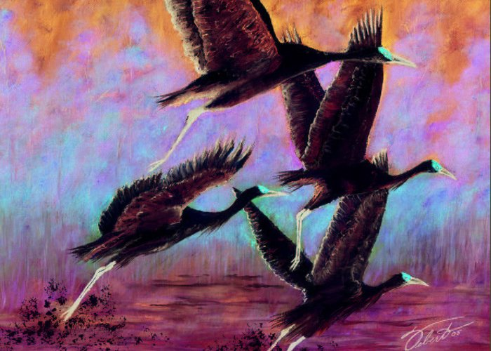 Birds Greeting Card featuring the painting Cranes In Flight by Dennis Vebert