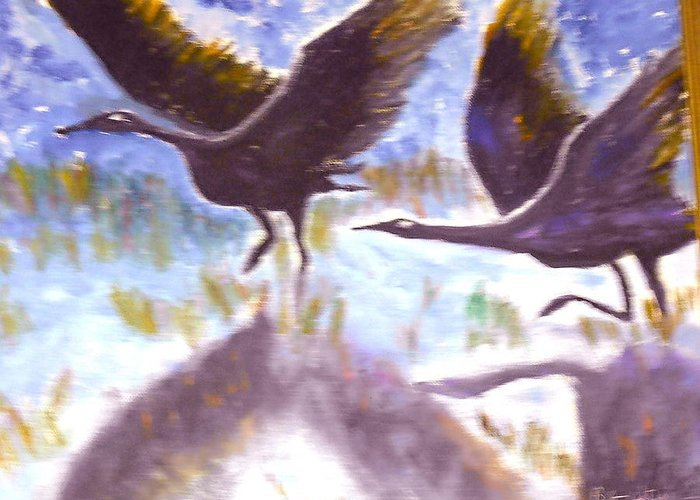 Folk Art Greeting Card featuring the painting Cranes N Flight by BJ Abrams