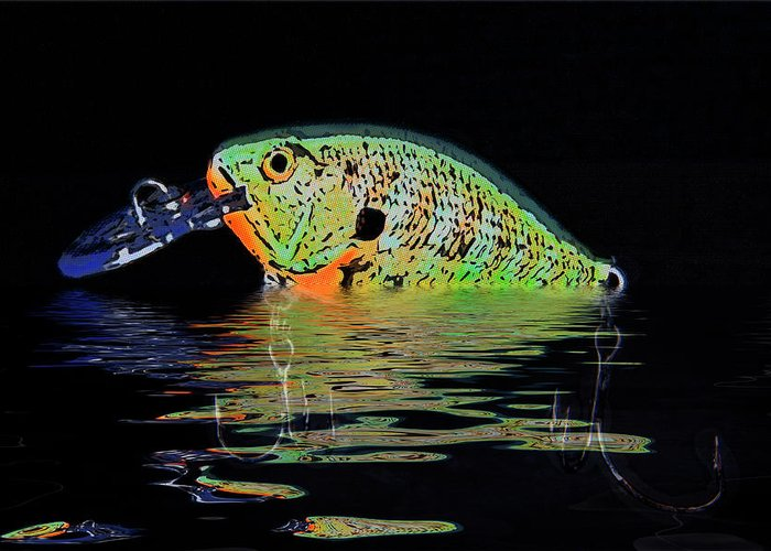 Black Greeting Card featuring the photograph Crank Bait I by Tom Mc Nemar