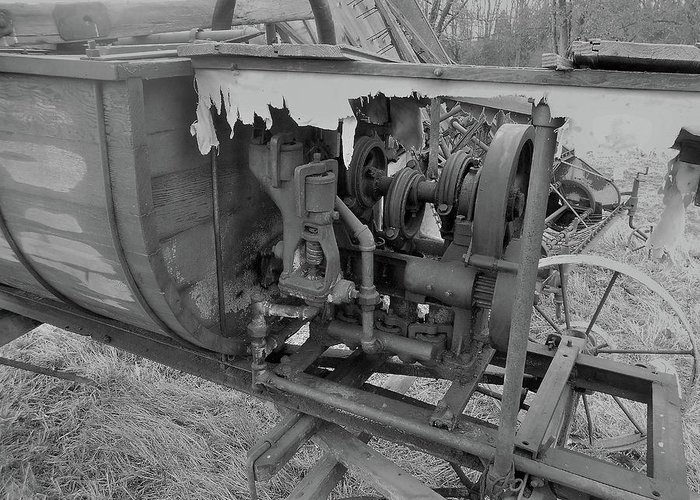 Farm Auction Greeting Card featuring the photograph Crank Wood Bw by Mark Victors