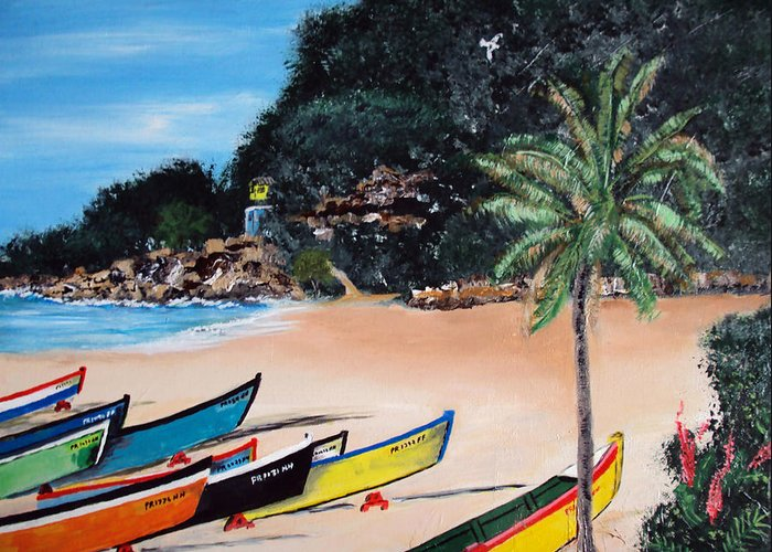 Aguadilla Greeting Card featuring the painting Crashboat Beach I by Luis F Rodriguez