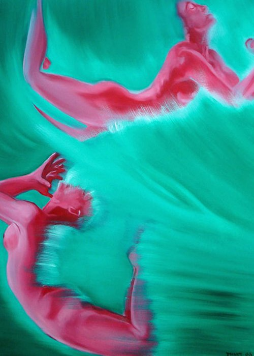 Erotic Abstract Figurative Nudes Nude Females Red Green Sea Water Greeting Card featuring the painting Crashing by Davinia Hart
