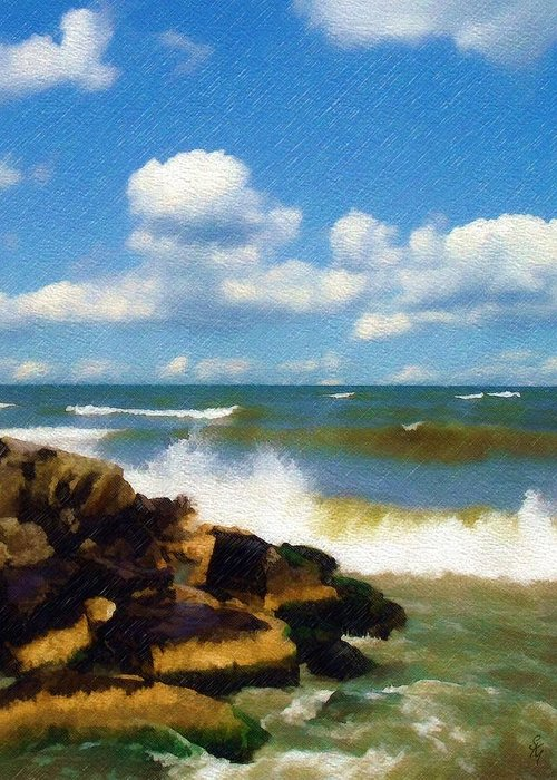 Seascape Greeting Card featuring the photograph Crashing Into Shore by Sandy MacGowan