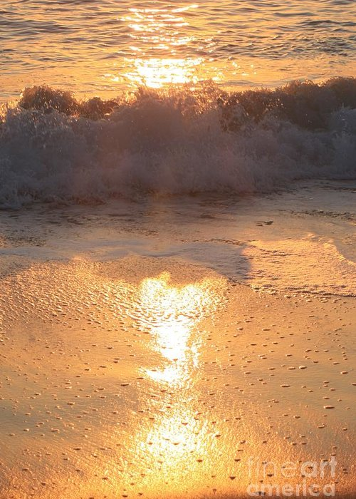Waves Greeting Card featuring the photograph Crashing Wave At Sunrise by Nadine Rippelmeyer