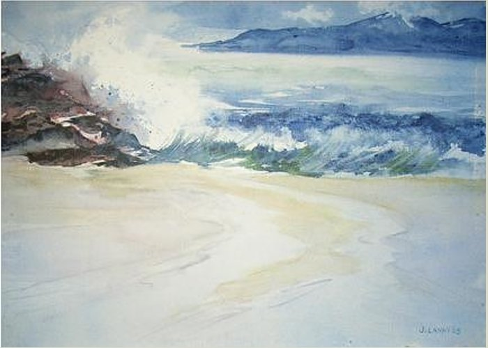Seascape Greeting Card featuring the painting Crashing Waves by Joe Lanni