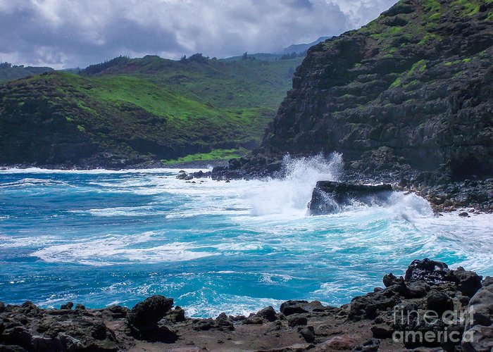 Hawaii Greeting Card featuring the photograph Crashing Waves - Nakalele Point by New Heights Aerial Photography