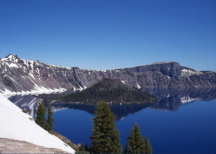 Oregon Greeting Card featuring the photograph Crater Lake by Adrienne Wilson