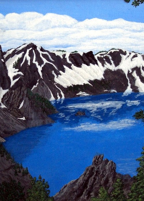 Art Greeting Card featuring the painting Crater Lake by Frederic Kohli