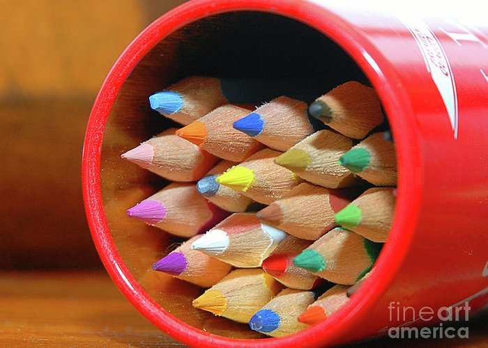 Experiment Greeting Card featuring the photograph Crayons by Graham Taylor