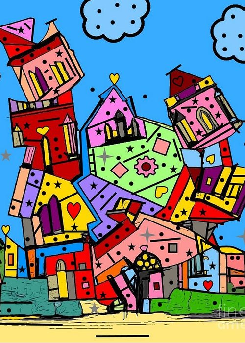 Crazy Building Popart By Nico Bielow Greeting Card featuring the digital art Crazy Building Popart By Nico Bielow by Nico Bielow