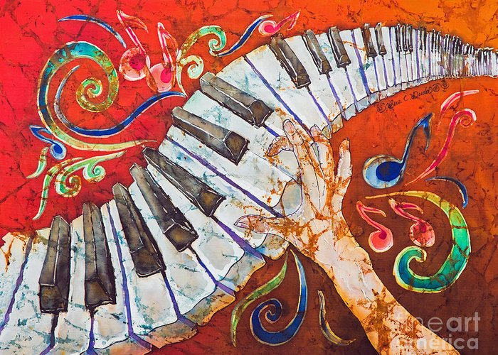 Piano Greeting Card featuring the tapestry - textile Crazy Fingers - Piano Keyboard by Sue Duda