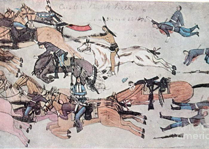 History Greeting Card featuring the photograph Crazy Horse At The Battle Of The Little by Photo Researchers