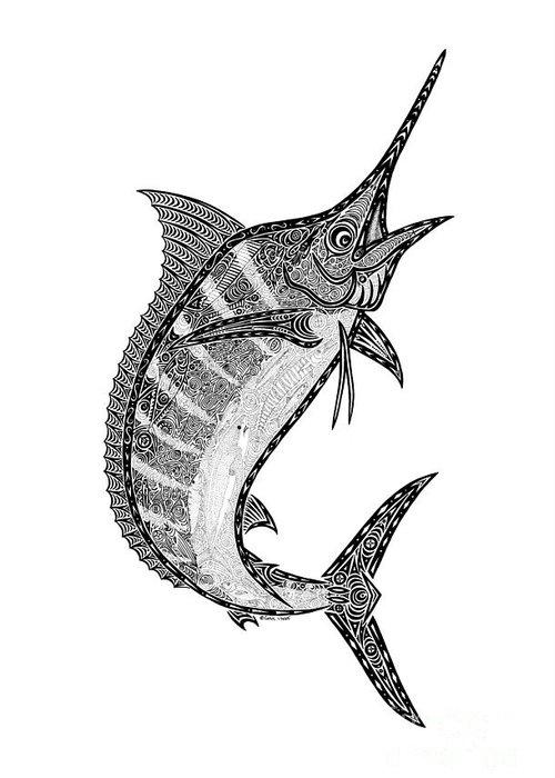 Marlin Greeting Card featuring the drawing Crazy Marlin by Carol Lynne