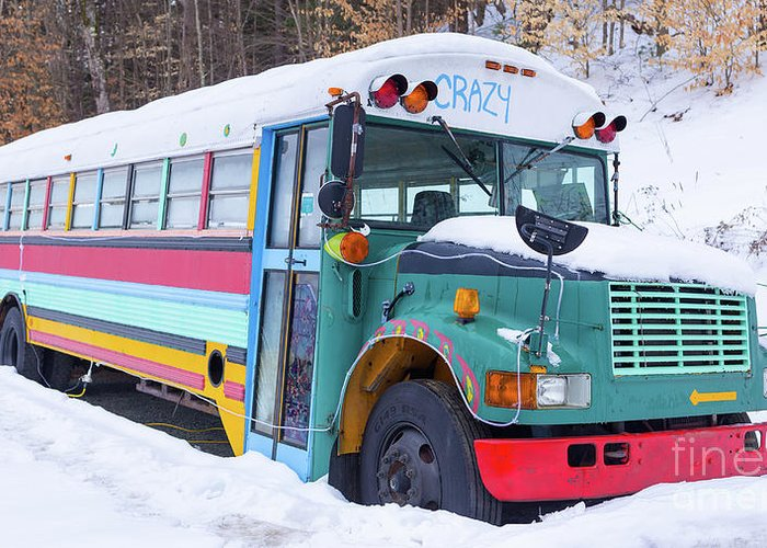 Crazy Painted Old School Bus In The Snow Greeting Card For Sale By
