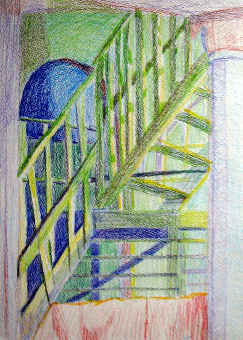 Steps Greeting Card featuring the drawing Crazy Steps by Art Nomad Sandra Hansen